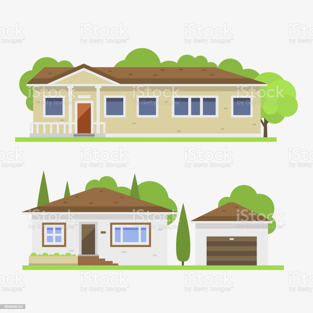 ... Cute Colorful Flat Style House Village Symbol Real Estate Cottage And Home  Design Residential Colorful Building ...