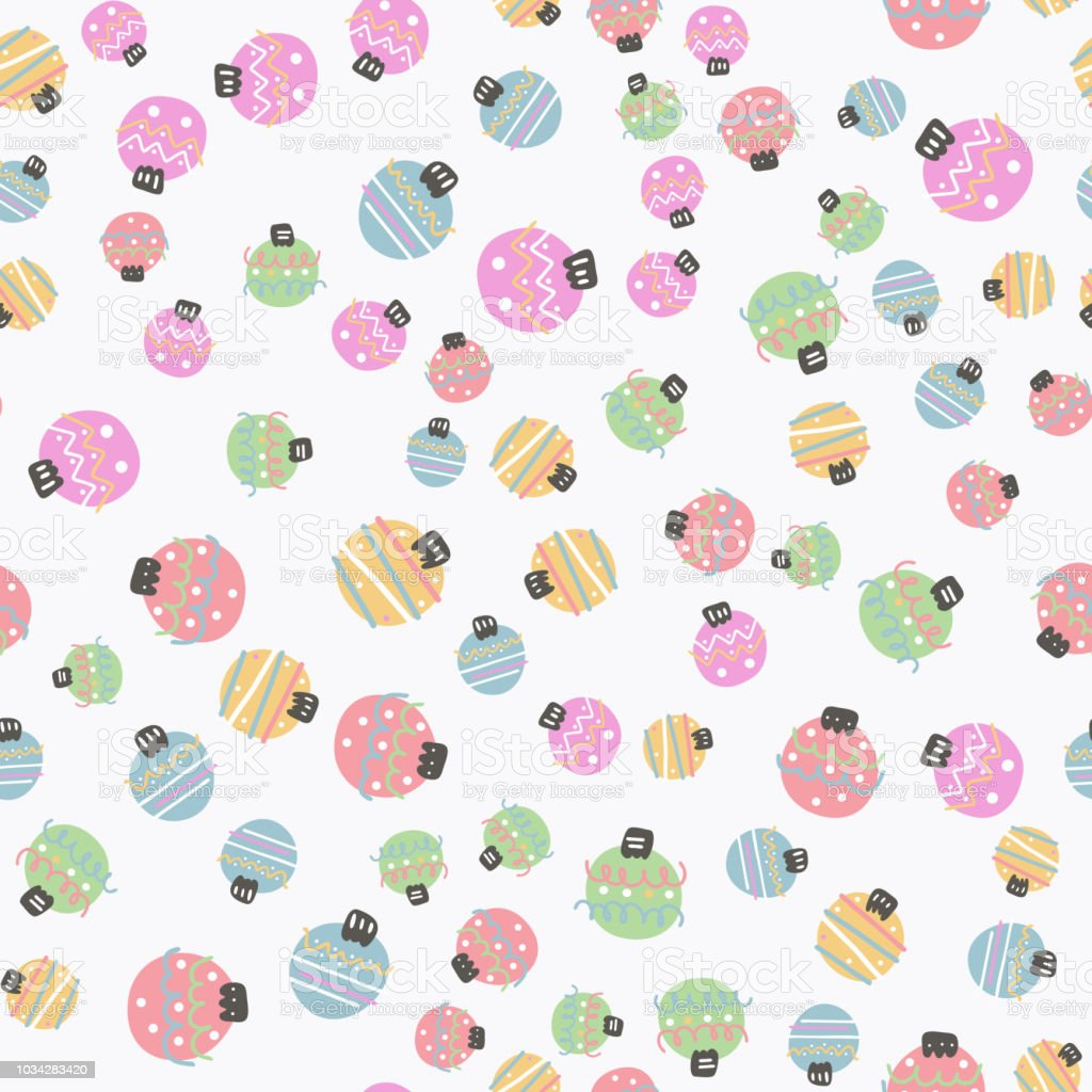 Cute Colorful Flat Style Xmas Balls Seamless Pattern It Can Be Used As Wallpaper