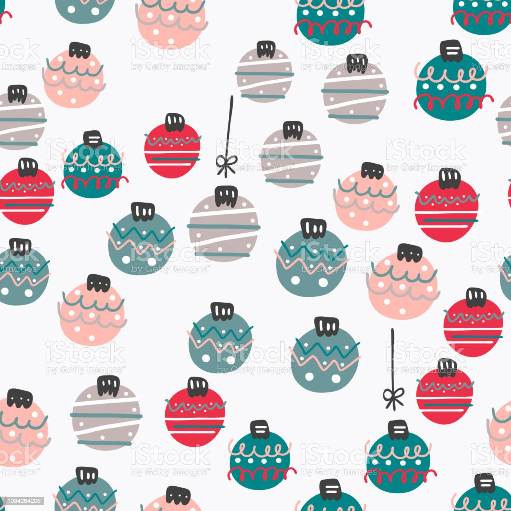 Cute Colorful Flat Style Xmas Balls Seamless Pattern It Can Be Used