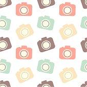 cute colorful flat camera seamless pattern background illustration