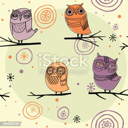 Cute colorful floral seamless pattern with owls