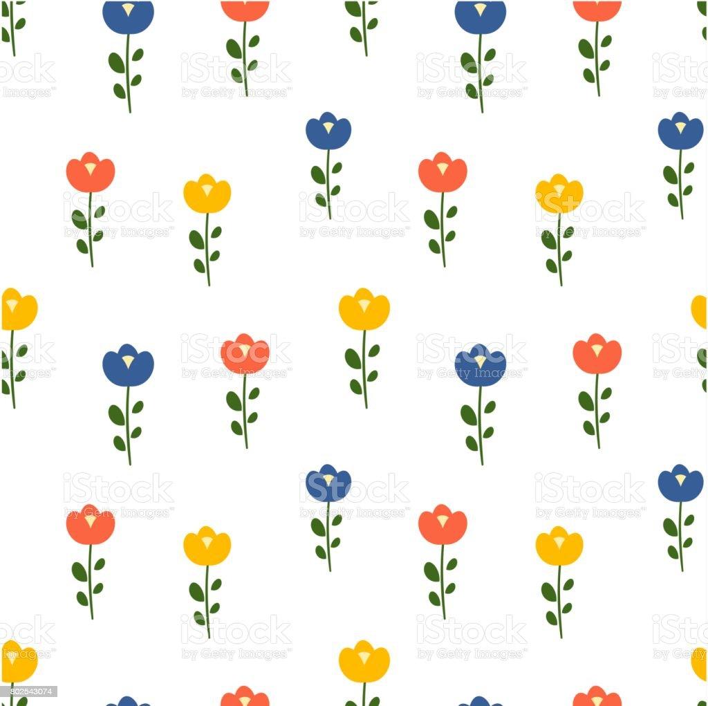 かわいいカラフルな花のシームレスなベクトル パターン背景イラスト
