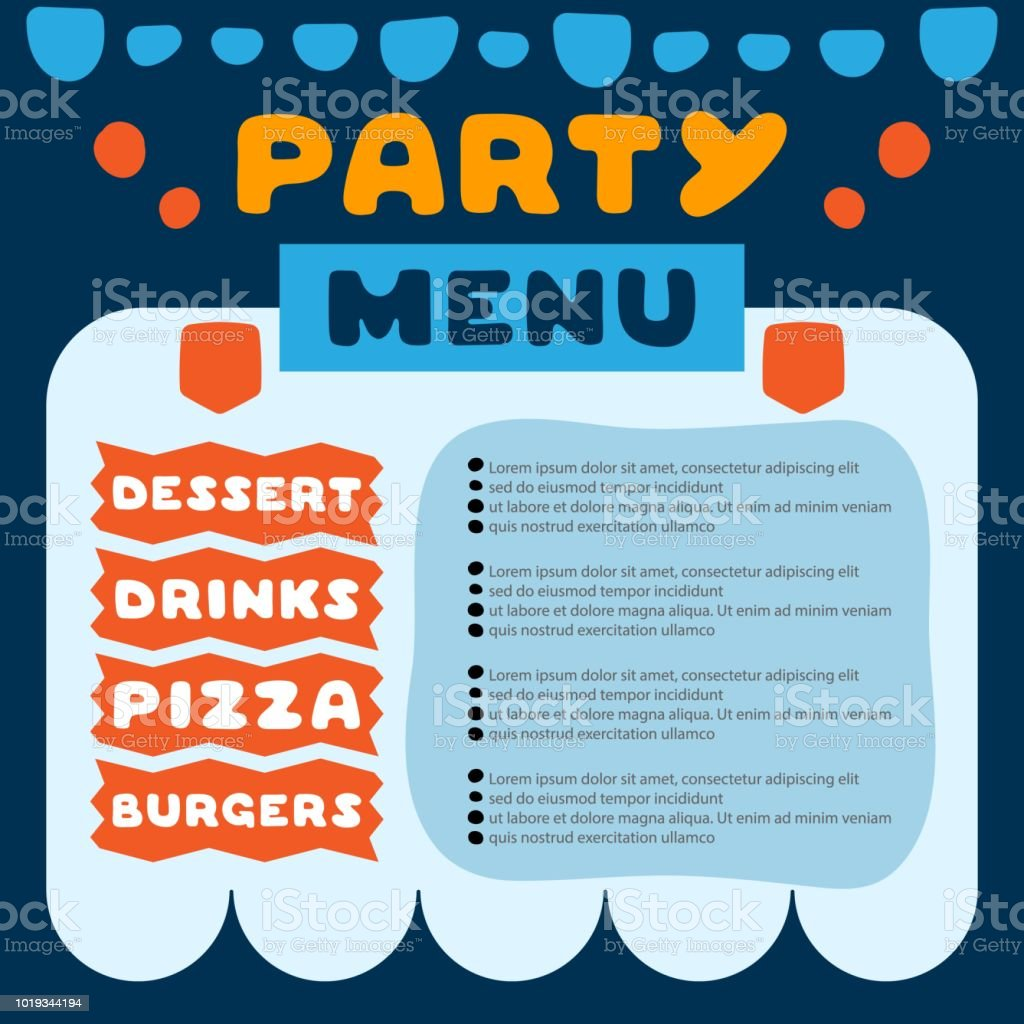 Cute colorful flyer for cafe with menu for party quote with dessert, drinks, pizza and burgers inscriptions. Template design. Cartoon illustration. vector art illustration