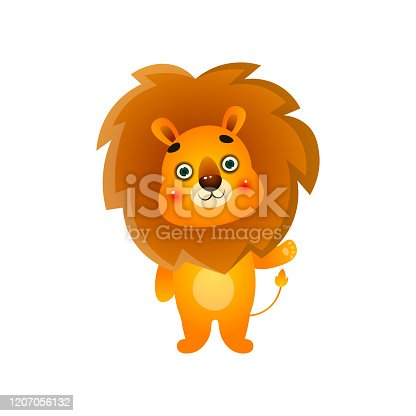 Cute colorful gold lion say hello to all