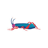 Cute Colorful Grasshopper Insect, Side View Vector Illustration
