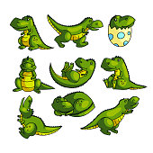 Cute colorful green dino character in different poses for video animations. Cartoon style. Vector illustration on white background