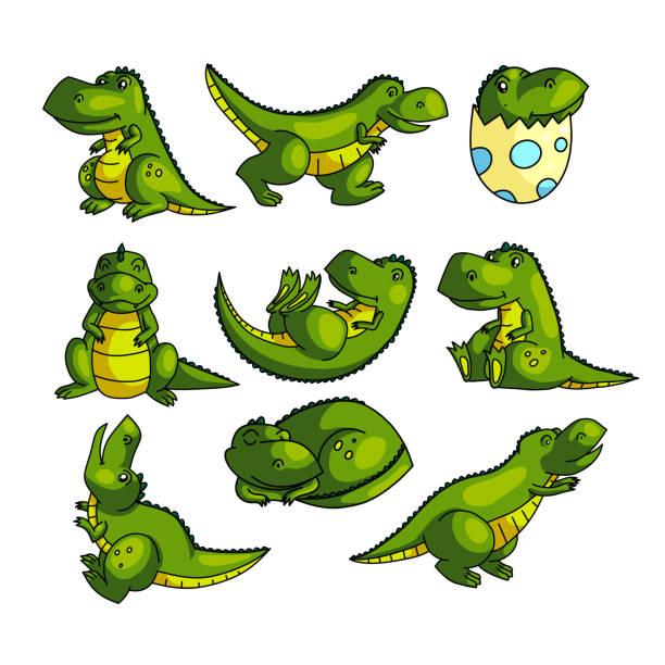 다른 포즈에 귀여운 다채로운 녹색 디노 문자 - 몰도바 stock illustrations