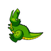 istock Cute colorful green dino screaming, head up 1208350194