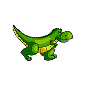 istock Cute colorful green dinosaur running away from zoo 1208350088