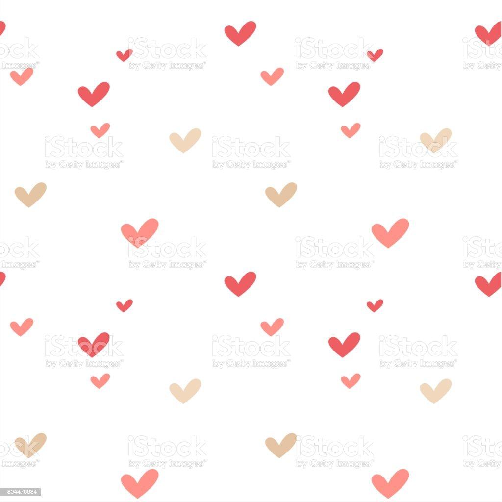 かわいいカラフルな手書きの心シームレスなベクトル パターン背景