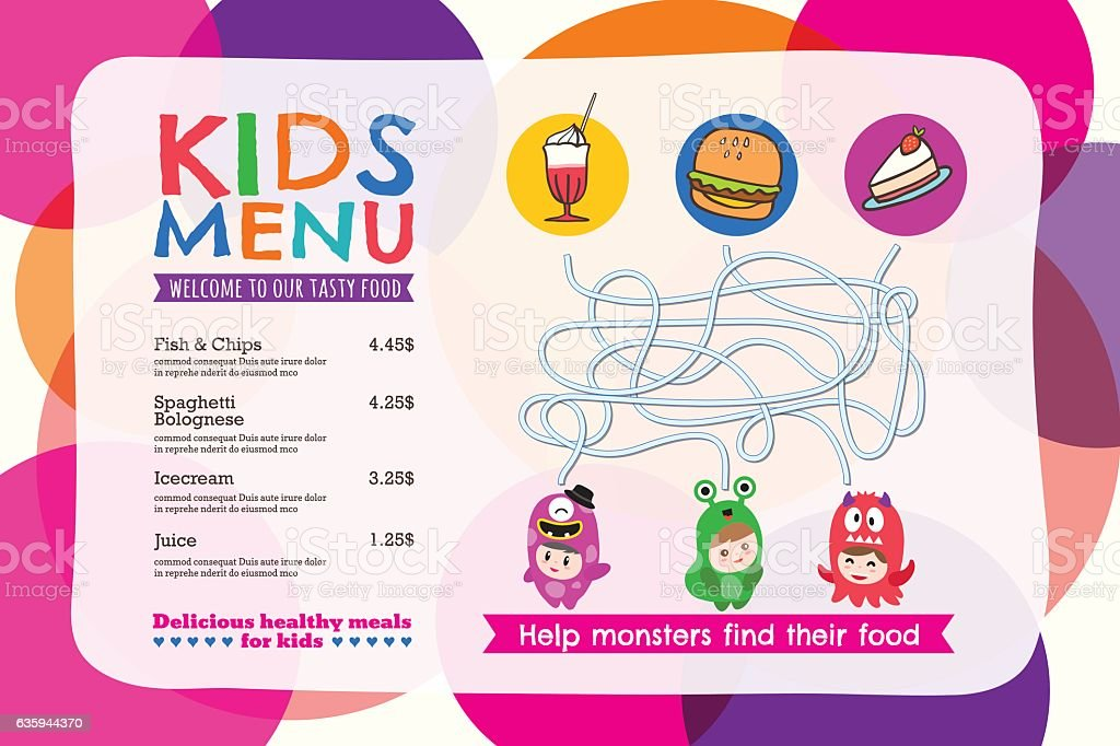 Cute colorful kids meal menu placemat with circle background vector art illustration