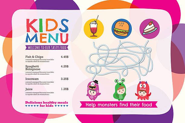 cute colorful kids meal menu placemat with circle background - ランチョンマット点のイラスト素材/クリップアート素材/マンガ素材/アイコン素材
