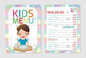 Cute colorful kids meal menu template design, Kids restaurant, children menu, menu for kids template, Cafe menu for kids, template design.Vector illustration