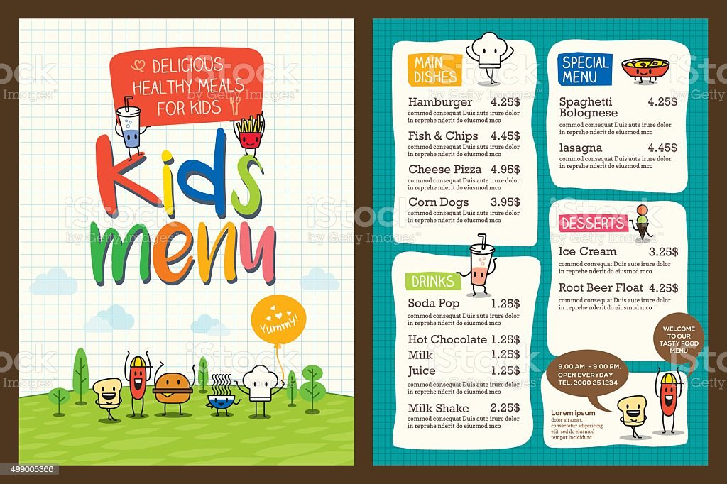 Cute Colorful Kids Meal Menu Template Stock Vector Art & More Images ...
