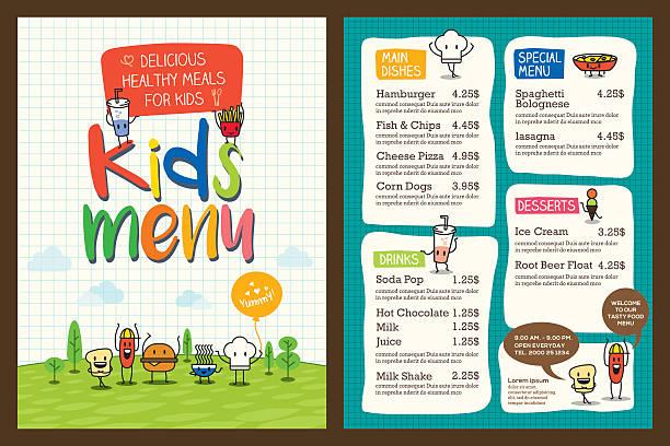 Cute colorful kids meal menu template Cute colorful kids meal menu vector template cooking borders stock illustrations