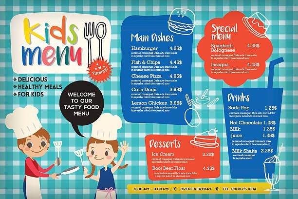Cute colorful kids meal menu template Cute colorful kids meal menu placemat vector template cooking borders stock illustrations