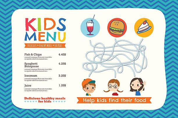 かわいいカラフルなお子様用のお食事メニューテンプレート - ランチョンマット点のイラスト素材/クリップアート素材/マンガ素材/アイコン素材