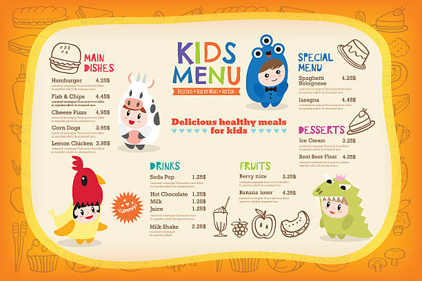 Cute colorful kids meal menu template Cute colorful kids meal menu placemat with children dressing up in costumes vector template cooking borders stock illustrations