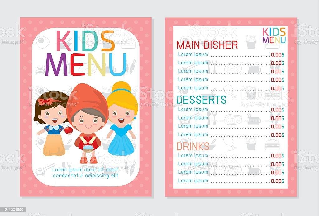 Cute colorful kids meal menu vector template kids menu stock vector cute colorful kids meal menu vector template kids menu royalty free cute colorful kids maxwellsz
