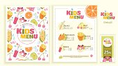 Cute colorful kids meal menu vector template. Funny snacks, fruits and vegetables. Menu design for restaurant, cafe and bar.