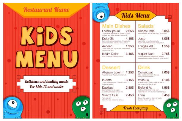 モンスターかわいいカラフルな子供たちの食事メニュー。ベクトル テンプレート - ランチョンマット点のイラスト素材/クリップアート素材/マンガ素材/アイコン素材