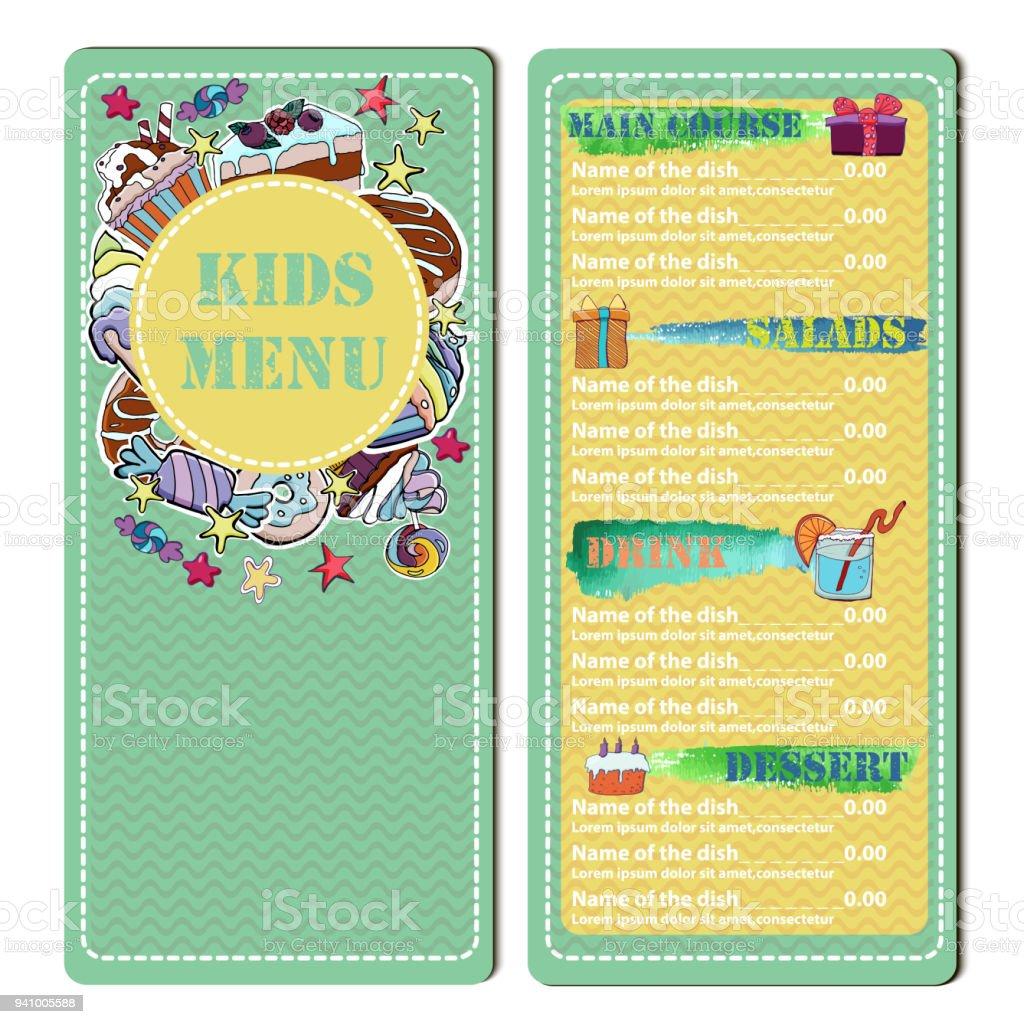 Cute Colorful Kids Restaurant Menu Vector Template Hand Drawn ...