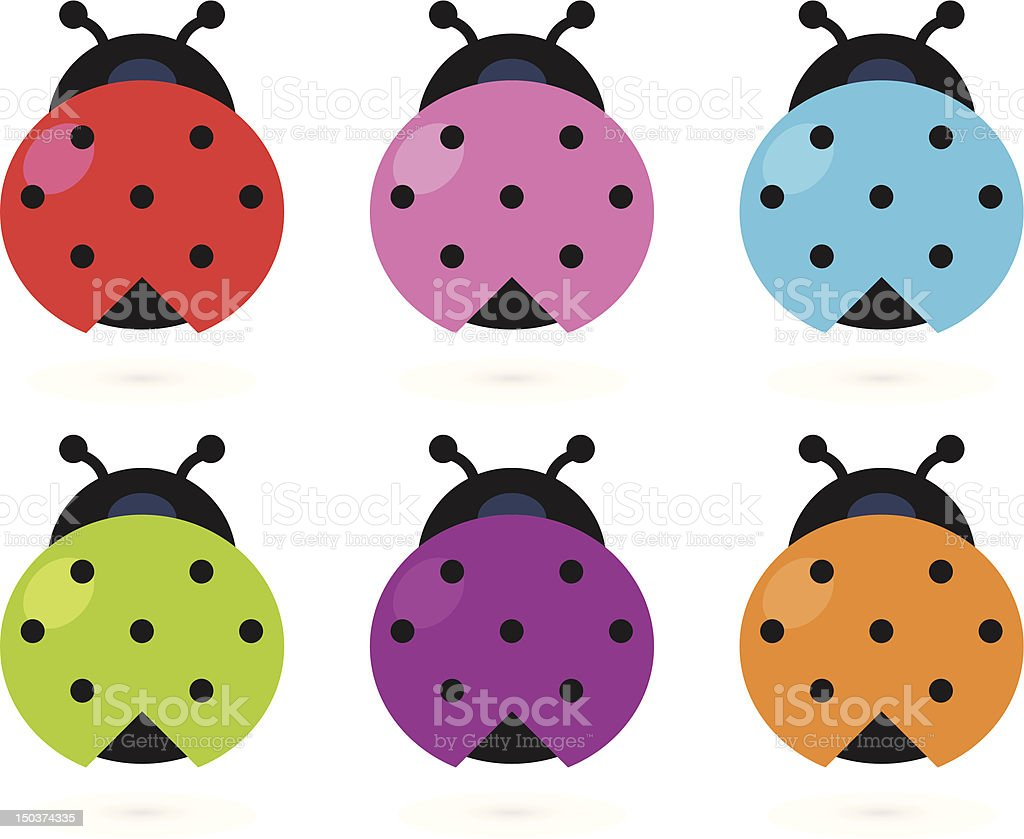 Cute colorful Ladybug set isolated on white vector art illustration