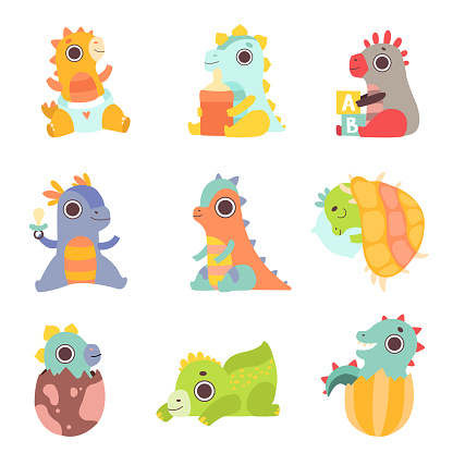 Cute Colorful Little Dinos Set, Adorable Newborn Dinosaurs Characters Vector Illustration