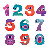 A set of cute colorful monster number characters.