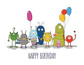 Cute colorful monsters happy birthday card. eps10