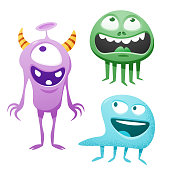 Vector illustration of some hand drawn cute and colorful monsters for using in design projects, book covers, stories for children and young adult readers or any website or design idea or concept.