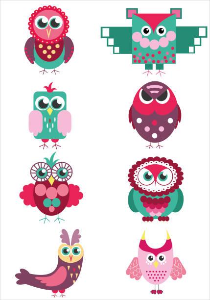 illustrazioni stock, clip art, cartoni animati e icone di tendenza di cute colorful owl friends vector set - love word