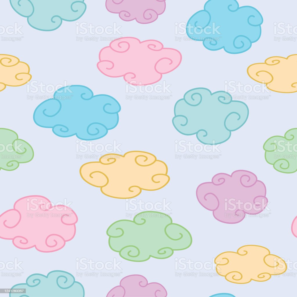 Cute Colorful Pastel Colored Clouds Seamless Background Stock Illustration Download Image Now Istock