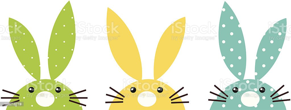 Cute colorful patterned bunny set isolated on white vector art illustration