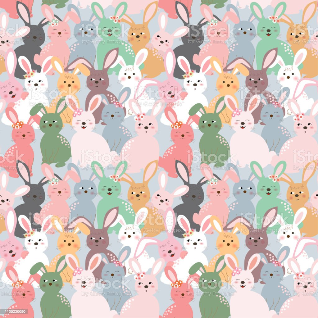 Cute Colorful Rabbits Seamless Pattern On Pastel Blue Background For Kid Productfashionfabrictextileprint Or Wallpaper Stock Illustration Download Image Now Istock