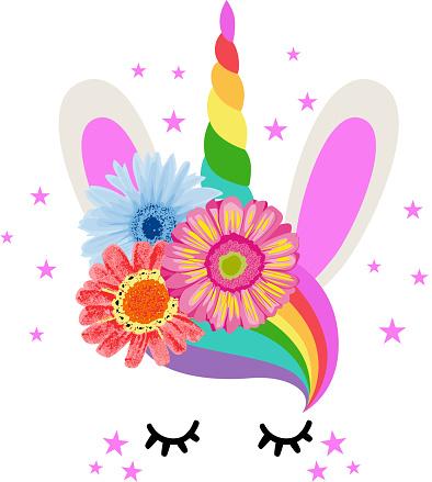 Cute colorful rainbow horn unicorn with flowers