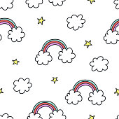 Rainbow, stars, clouds pattern. Vector illustration