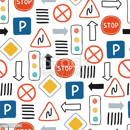 istock Cute, colorful seamless pattern with road signs and traffic lights on a white background. The illustration in hand drawn style for children's room design, Wallpaper, textile. Vector 1220162083
