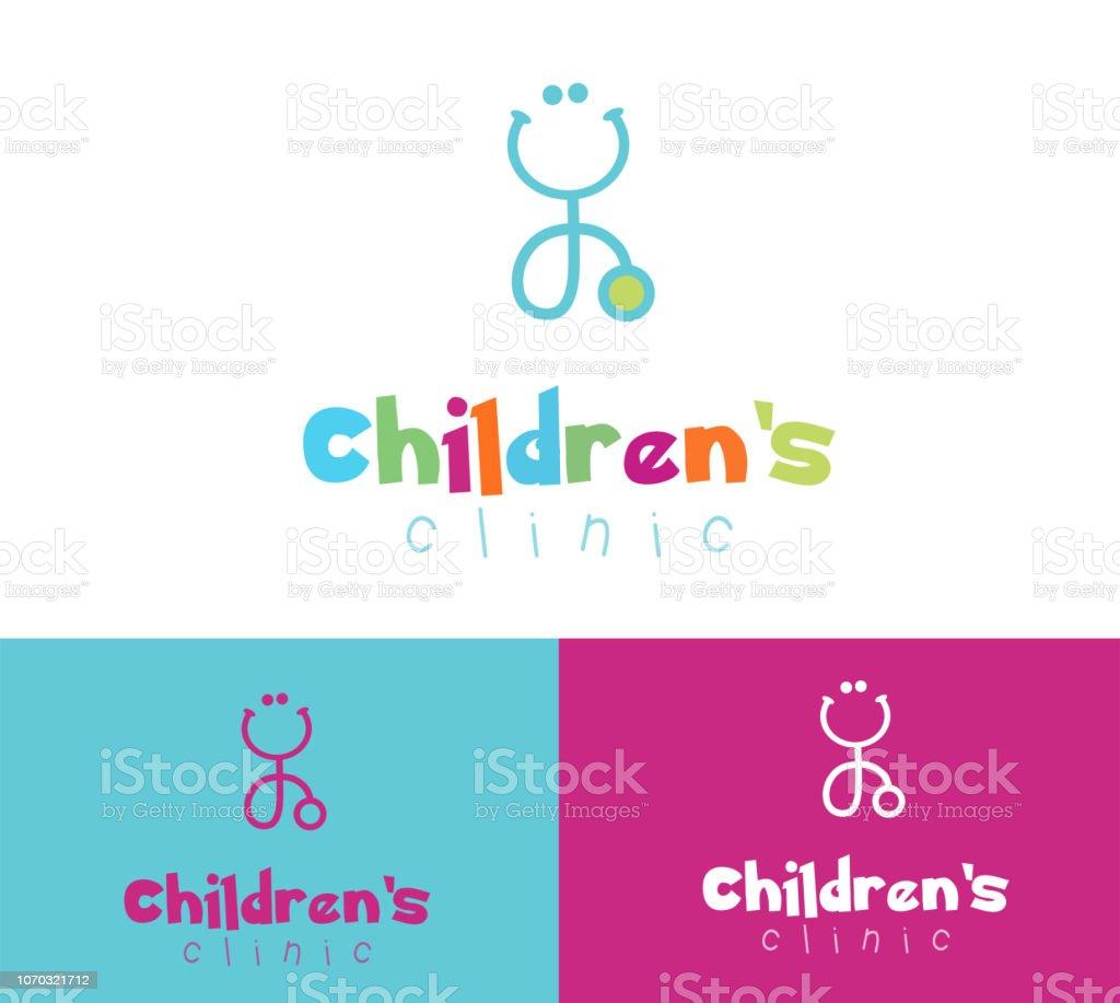 Mignon coloré souriant stéthoscope pour pédiatre clinique pédiatrique - Illustration vectorielle