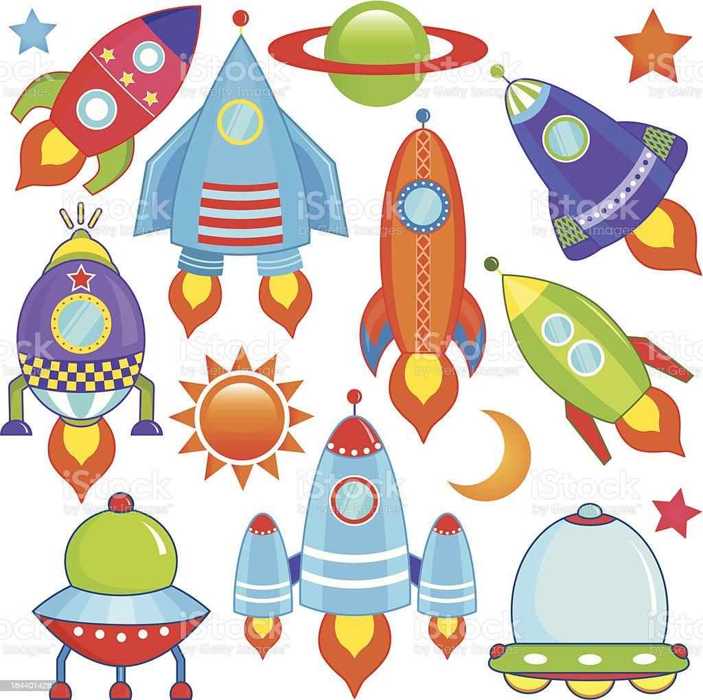 かわいいカラフルな宇宙船宇宙船ロケットufo Ufoのベクターアート素材