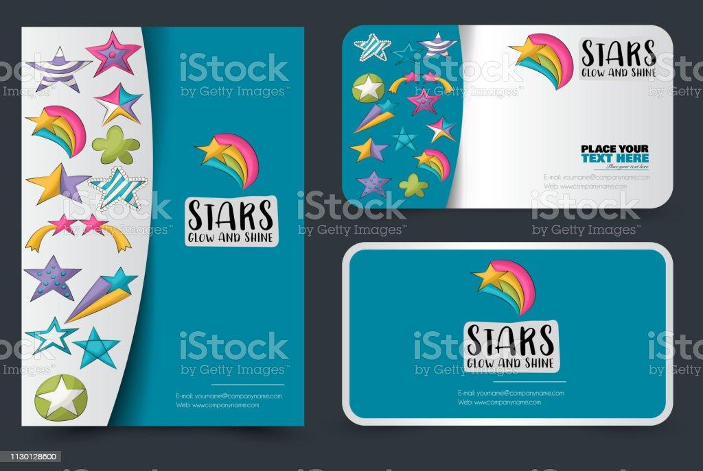 Niedliche Bunte Sternen Auf Flyer Und Visitenkarten Setzen Hintergrund Für Werbung Menü Broschüre Vorlage Baby Und Kinderdesign Konzept