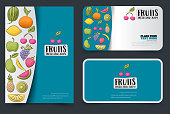 Cute colorful  summer poster and cards with fruits and berries. Flyer and banner mockup design. Vector illustration.