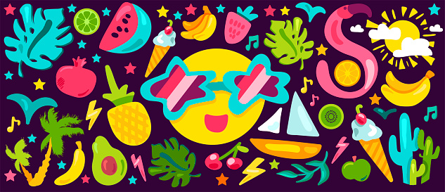 Cute Colorful Tropical Happy Summer Vector Drawing