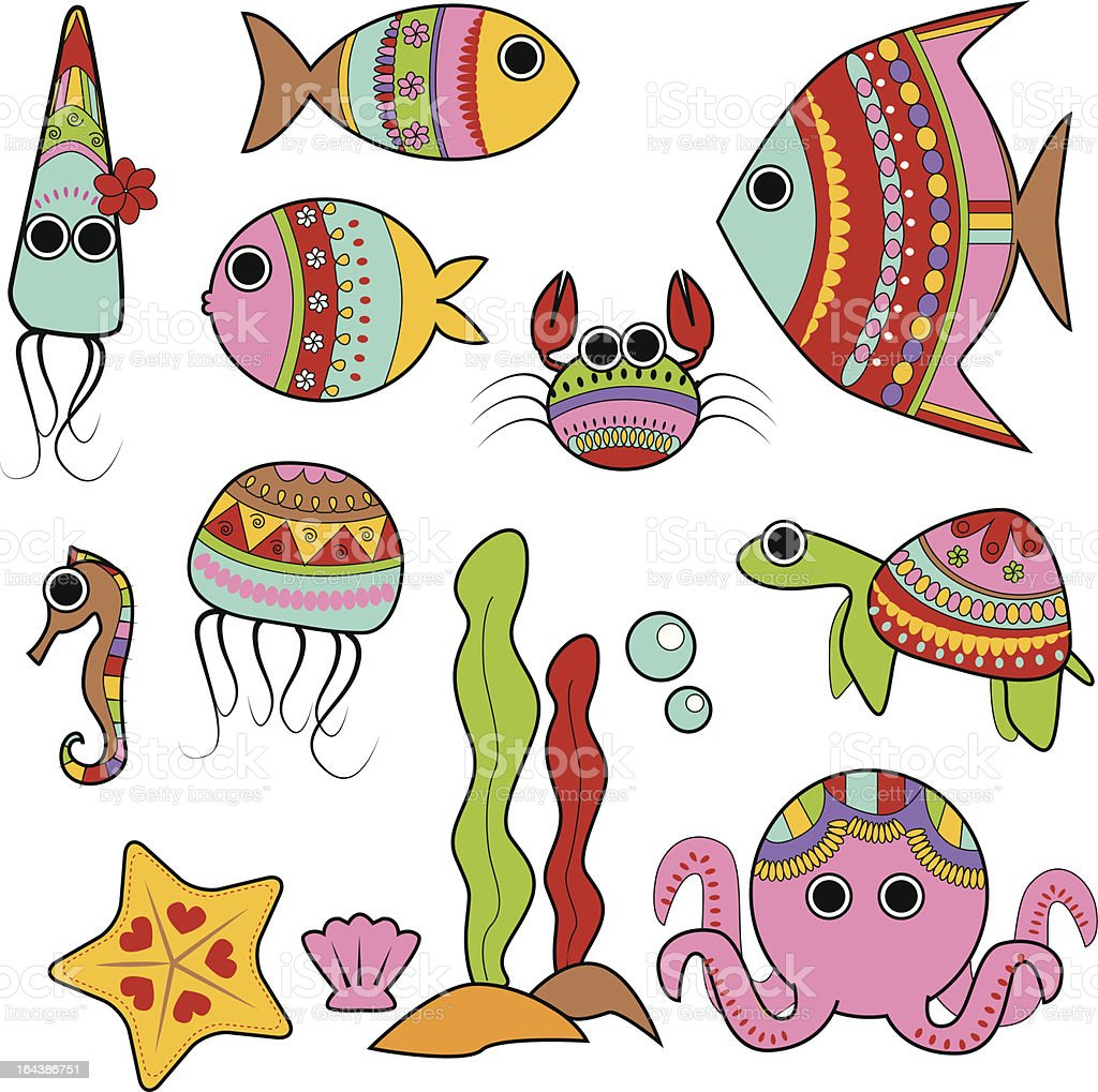 cute colorful under the sea creatures royalty-free cute colorful under the sea creatures stock vector art & more images of algae