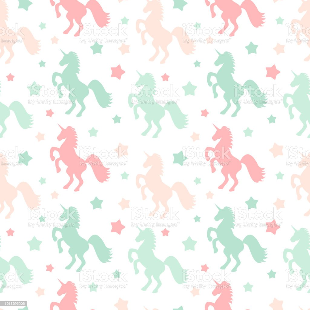 cute colorful unicorns silhouette seamless vector pattern background illustration with stars vector art illustration