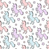 cute colorful unicorns with stars seamless vector pattern background illustration