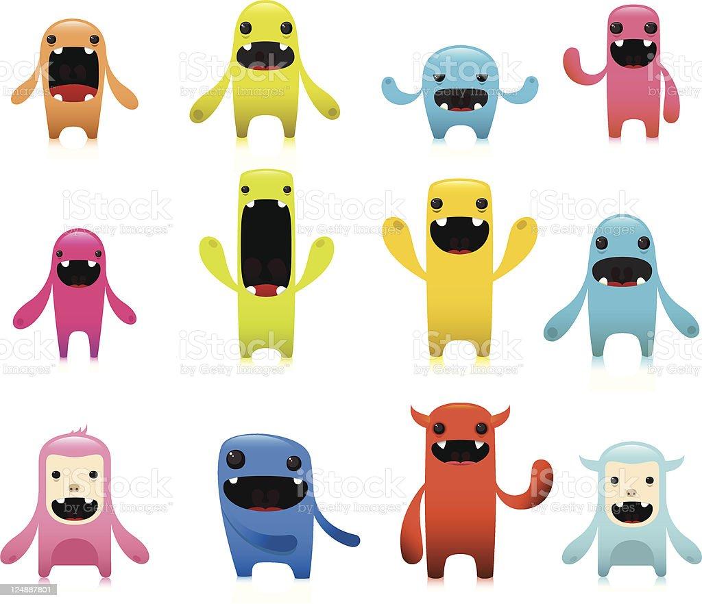 Cute Colorful Vector Character Set vector art illustration