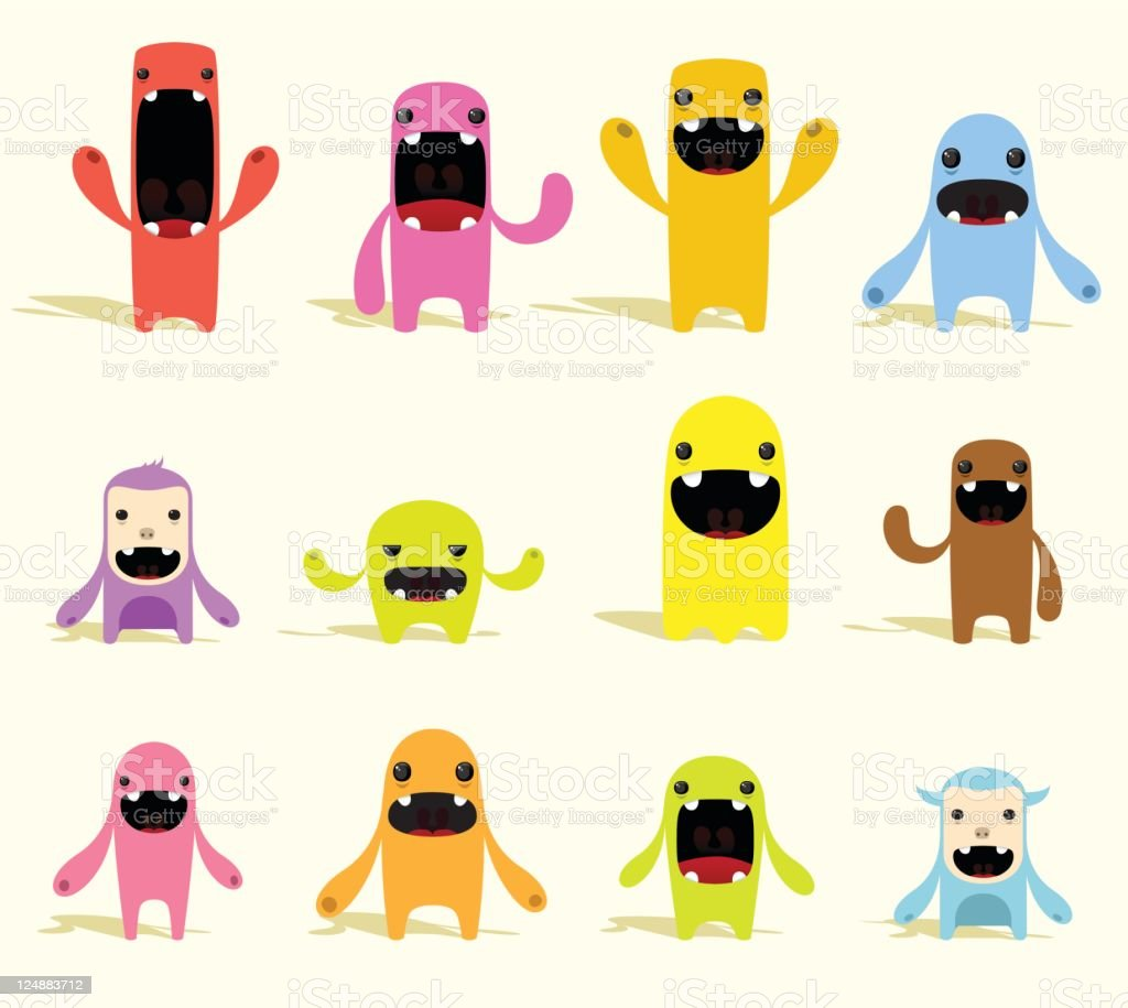 Cute Colorful Vector Characters With Expressions vector art illustration