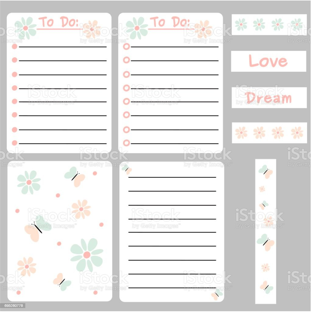 cute colorful vector set of printable template for cards notes