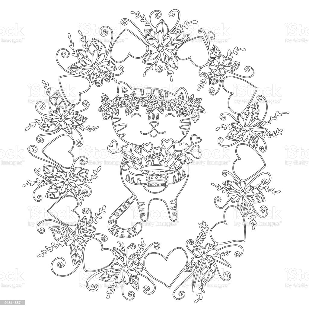 Coloriage Chat Avec Des Fleurs.Livre De Coloriage Mignon Avec Un Chat Et Fleurs Vecteurs Libres
